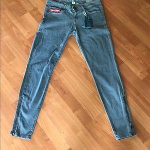 Agave grey side zip skinny jeans